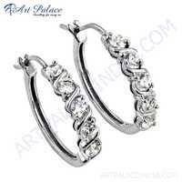 Impressive Cz Gemstone Silver Earrings