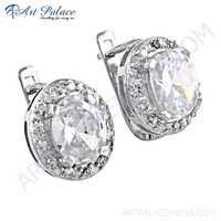 Party Wear Designer Cz Gemstone Silver Earrings
