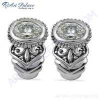 Antique Style Cubic Zirconia Gemstone Silver Earring