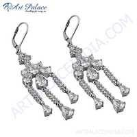 Indian Touch Cubic Zirconia Gemstone Silver Earrings