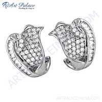 Popular Design Cubic Zirconia Silver Earrings