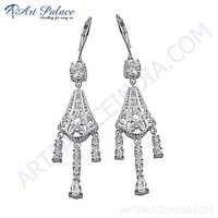 Traditional Cubic Zirconia Gemstone Silver Earrings
