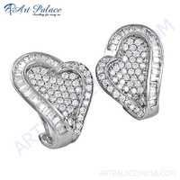 Stylish Heart Shape Cubic Zirconia Silver Earrings