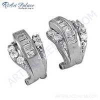 Rocking Style Cubic Zirconia Silver Earrings