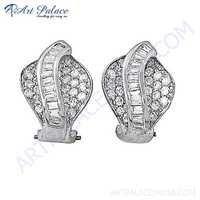 Designer Cubic Zirconia Gemstone Silver Earrings