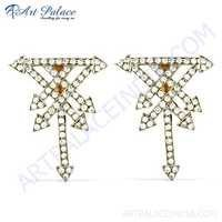 Pure Style Cubic Zirconia Gold Plated  Silver Earrings