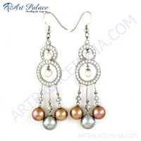 Latest Luxury Pearl & Cubic Zirconia Gemstone Silver Earrings