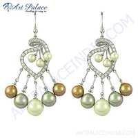 Precious Antique Pearl & Cz Gemstone Silver Earrings