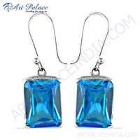 New Extra Shine Blue Cubic Zirconia Silver Earrings