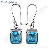 Wholesale Handmade Blue Cz Gemstone Silver Earrings