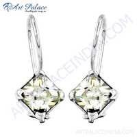 Sparkling Cubic Zirconia Gemstone Silver Earrings