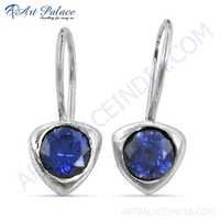 Pretty Inkzirconia Gemstone Silver Earrings