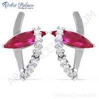 Fabulous Pink & White Cubic Zirconia Gemstone Silver Earrings