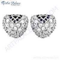 Fret Designer Ink & White Cubic Zirconia Gemstone Silver Stud Earrings