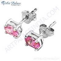 Cute Pink Cubic Zirconia Gemstone Silver Stud Earrings