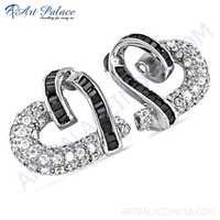 Stylish Heart Silver Earrings With Black & White Cubic Zirconia