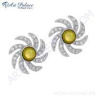 Sprial Flower Style Silver Earrings With C Z & Mother Of Pearl