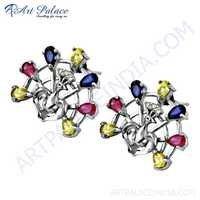 New Arrival Multi Color CZ Silver Earrings