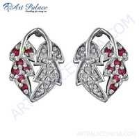 Dual Leaf Style Pink & White Cubic Zirconia Silver Earrings