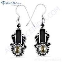 Indian Ethnic Designer Cz Gemstone Silver Earrings