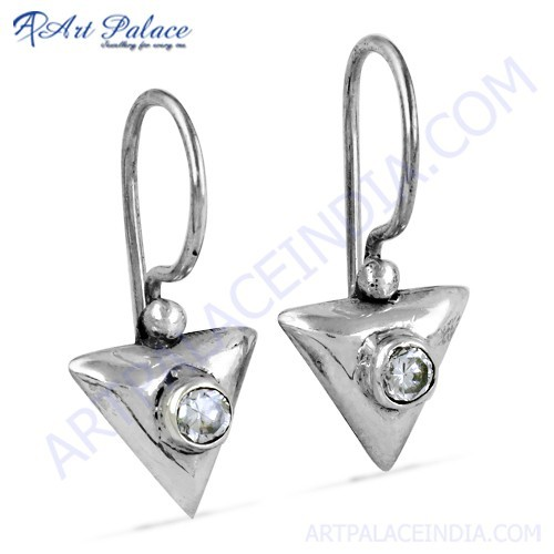 Fashion Accessories Cubic Zirconia Gemstone Silver Earrings