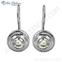 Traditional Cubic Zirconia Gemstone Silver Earrings