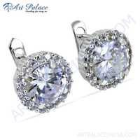 Charming Cubic Zirconia Gemstone Silver Stud Earrings