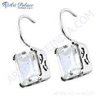 Shiney Cubic Zirconia Gemstone Silver Earrings