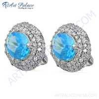 New Extra Shiney Blue & White Cubic Zirconia Silver Earrings
