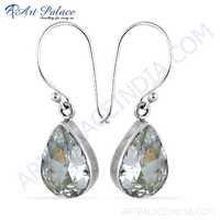 Delicate Cubic Zirconia Gemstone Silver Earrings