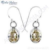 Simple Cubic Zirconia Gemstone Silver Earrings