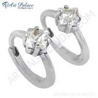 Ingenious Cubic Zirconia Gemstone Silver Earrings