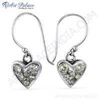 Cute Heart Style Cubic Zirconia Silver Earrings