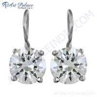 Sparkling Cubic Zirconia Gemstone Silver Clip Earrings
