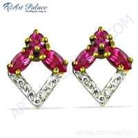 Costume Pink & White Cz Silver Gold Plated Earrings