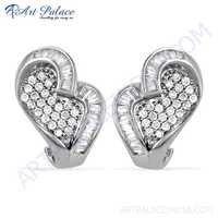 Unique Style Cubic Zirconia Silver Earrings