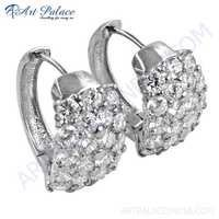 Famous Designer Cubic Zirconia Gemstone Silver Hoop Earrings