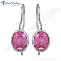 Lovely Pink Cubic Zirconia Gemstone Silver Earrings