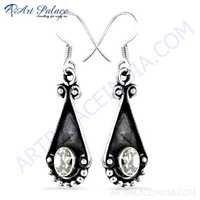 Party Wear Designer Cz Gemstone Silver Hook Earrings