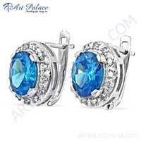 Dazzling Blue & White Cubic Zirconia Gemstone Silve Earrings