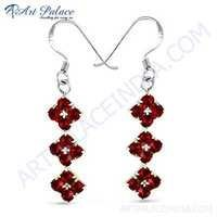 Attractive Red Cubic Zirconia Gemstone Silver Hook Earrings