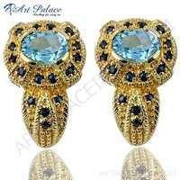 Unique Designer Blue Cz & Sapphire Gemstone Silver Gold Plated Earrings