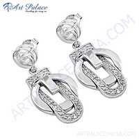 Fantastic Fashionable Cubic Zirconia Gemstone Silver Earrings