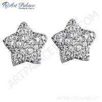 Cute Star Cubic Zirconia Gemstone Silver Earrings
