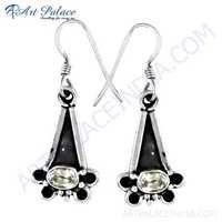 Vintage Designer Cubic Zirconia Gemstone Silver Earrings
