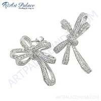 Popular Fashionable Cubic Zirconia Gemstone Silver Earrings