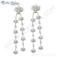 Girls Fashionable Cubic Zirconia Gemstone Silver Earrings