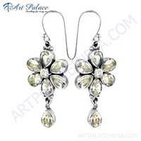 Trendy Charm Cubic Zirconia Gemstone Silver Earrings