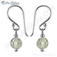 White Glass Gemstone Silver Drop Hook Earrings