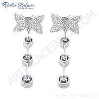 Party Wear Cubic Zirconia Gemstone Silver Earrings